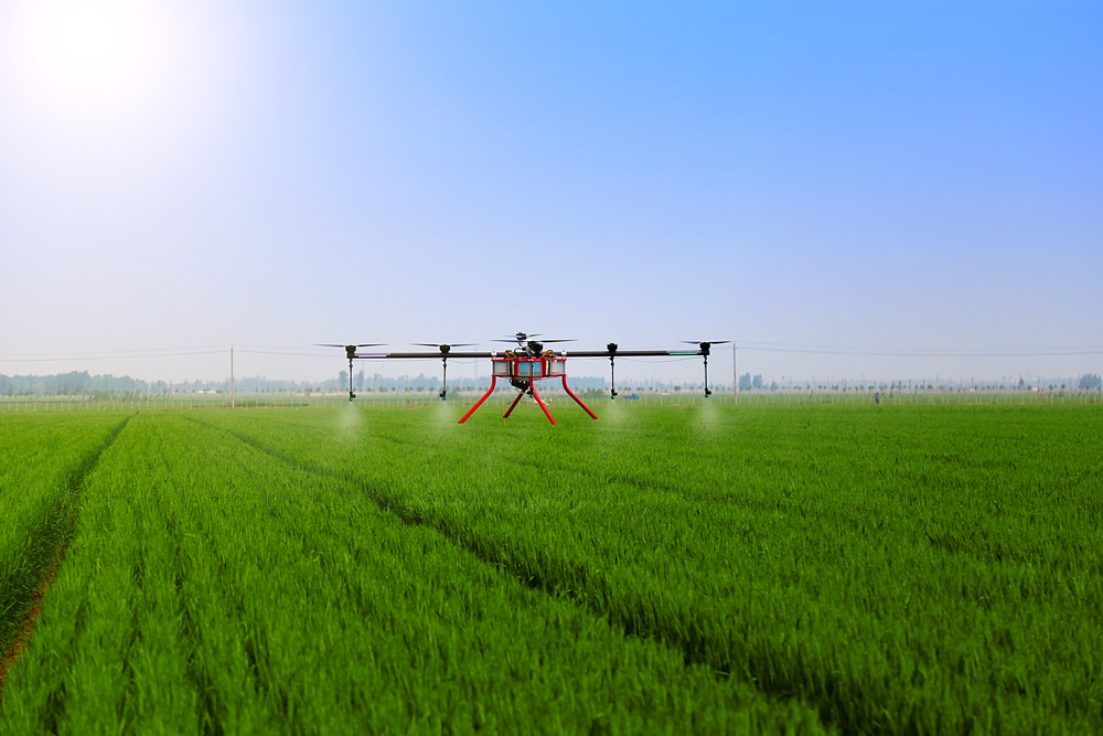 Drone spraying pesticides