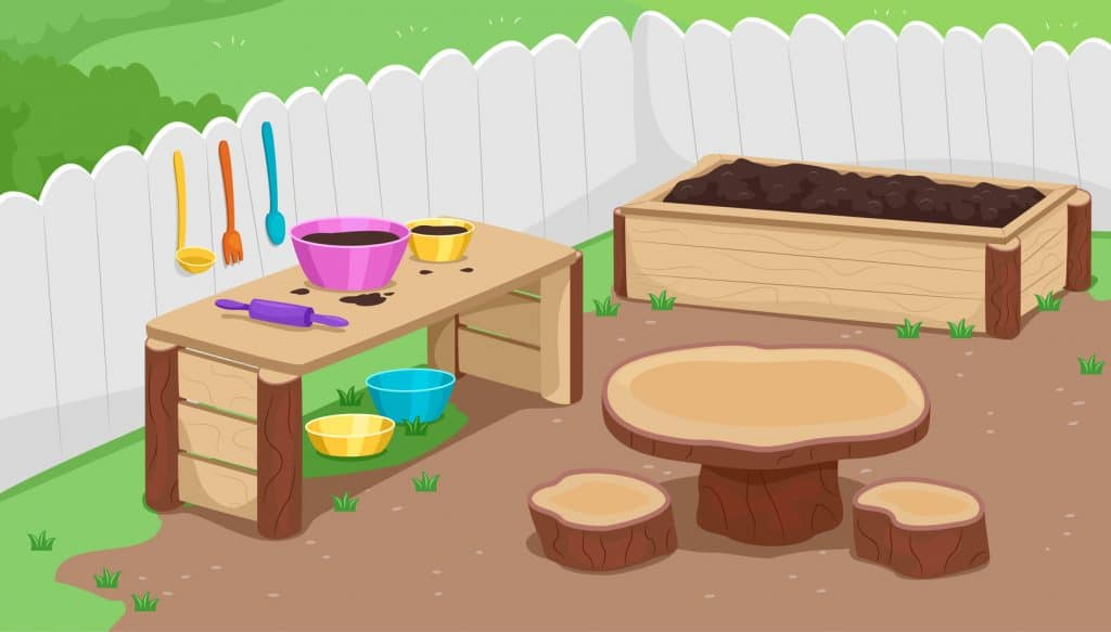 illustration of a simple wooden mud kitchen
