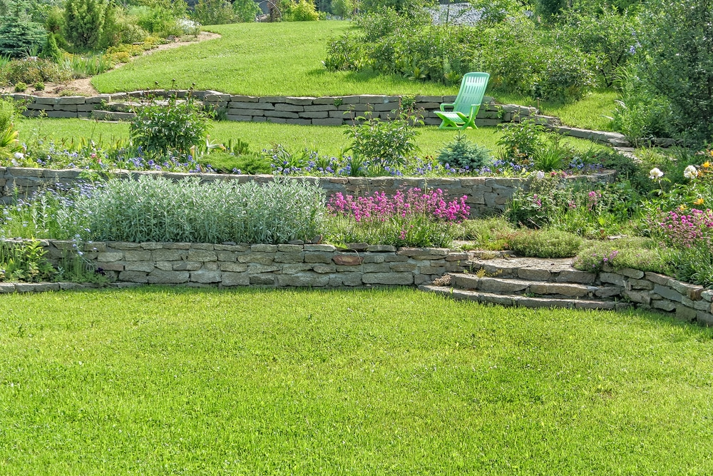 Sloped lawn with multiple retaining walls