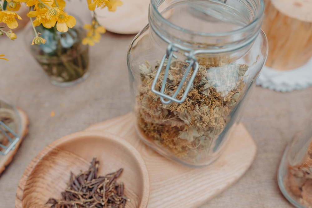 Dried Alchemilla grass in a glass jar