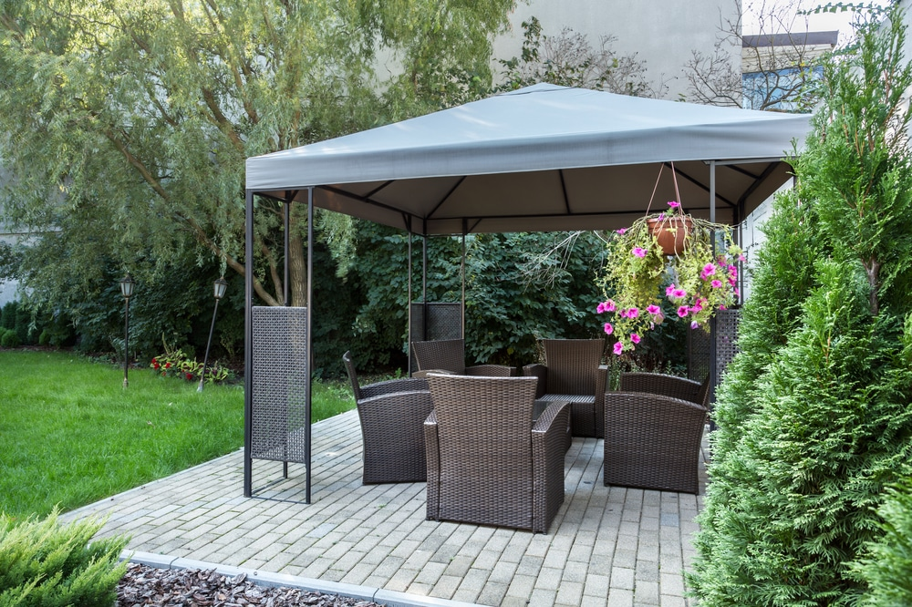 gazebos and furniture in garden