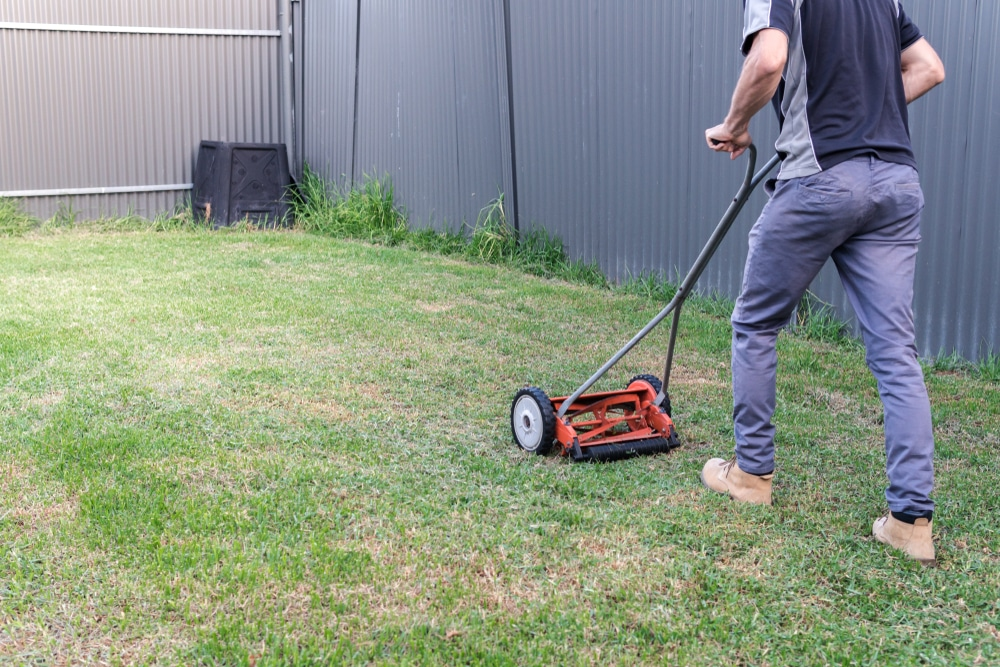 man pushing manual lawn mower on garden lawn
