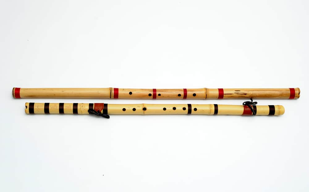 two bamboo flutes