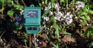 electronic soil tester in the ground