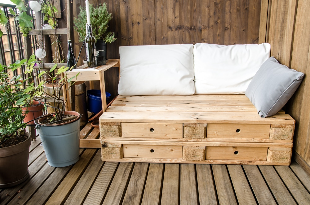 A pallet sofa on decking