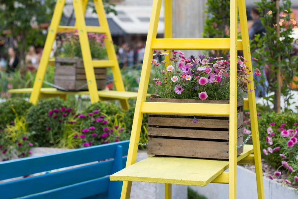 Step ladders painted yellow and used for plant pots