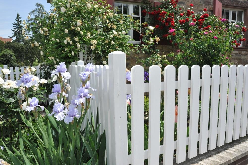 Stunning white garden fence