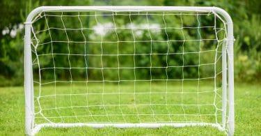 portable football goals on garden lawn