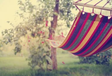 colourful hammock in the garden