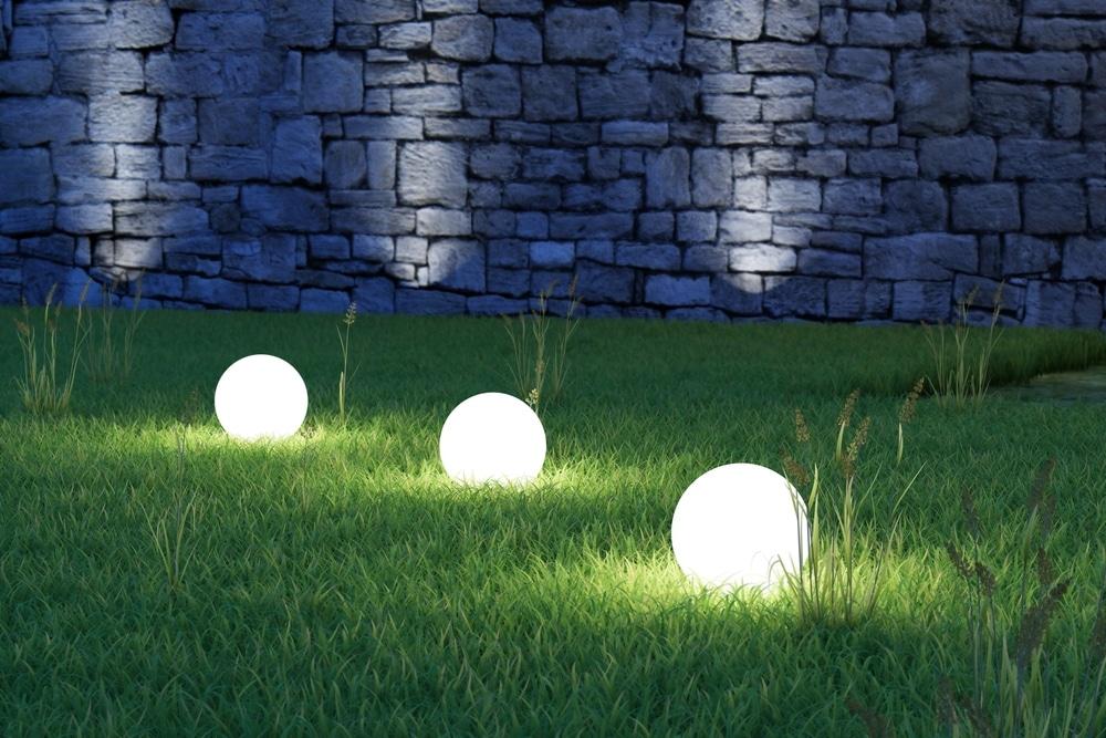 orb lighting on garden lawn
