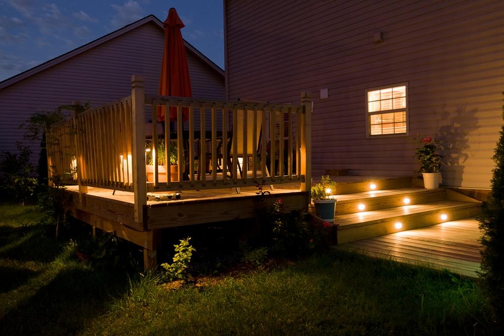 garden decking with in-built lighting