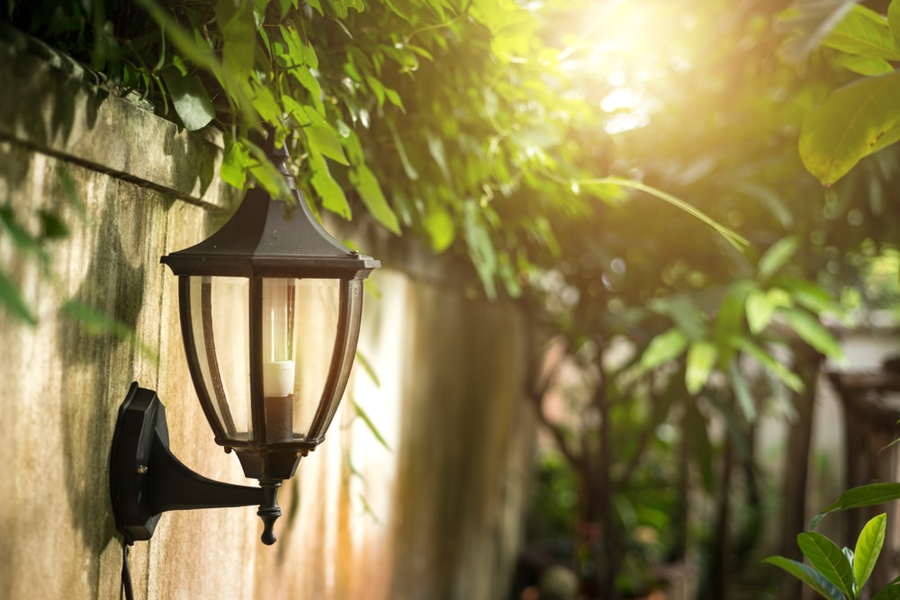 wall mounted lamps in garden environment