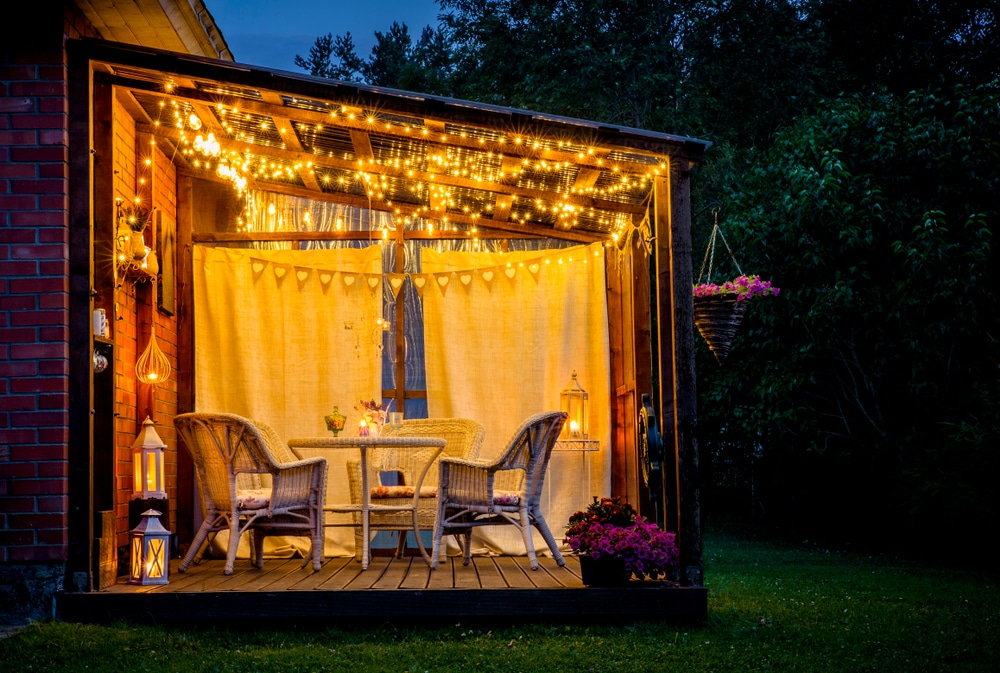 outdoor pergola with covered lighting