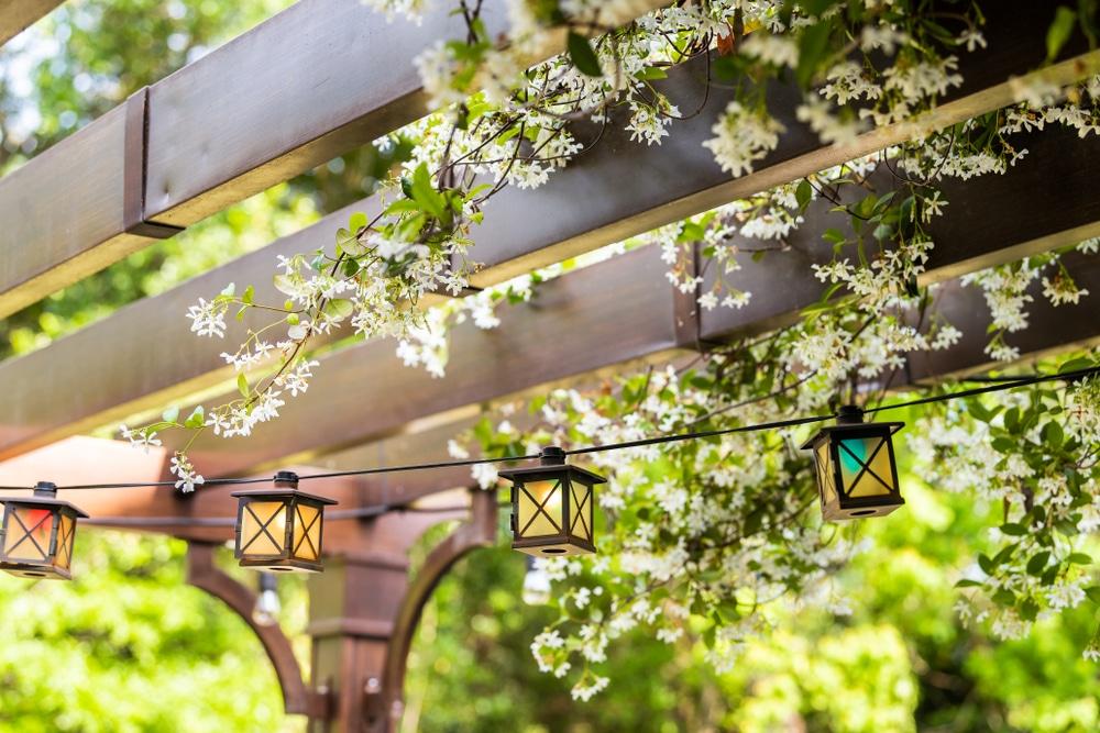 lantern string lights hung from a pergola