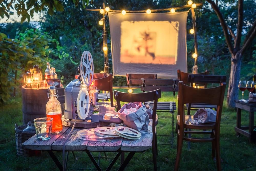 an outdoor garden cinema