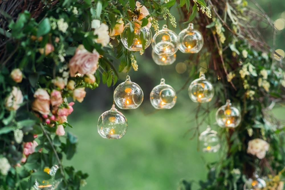 glass globe lighting with climbing plants
