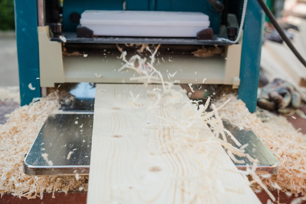 thicknesser planer shaving timber boards