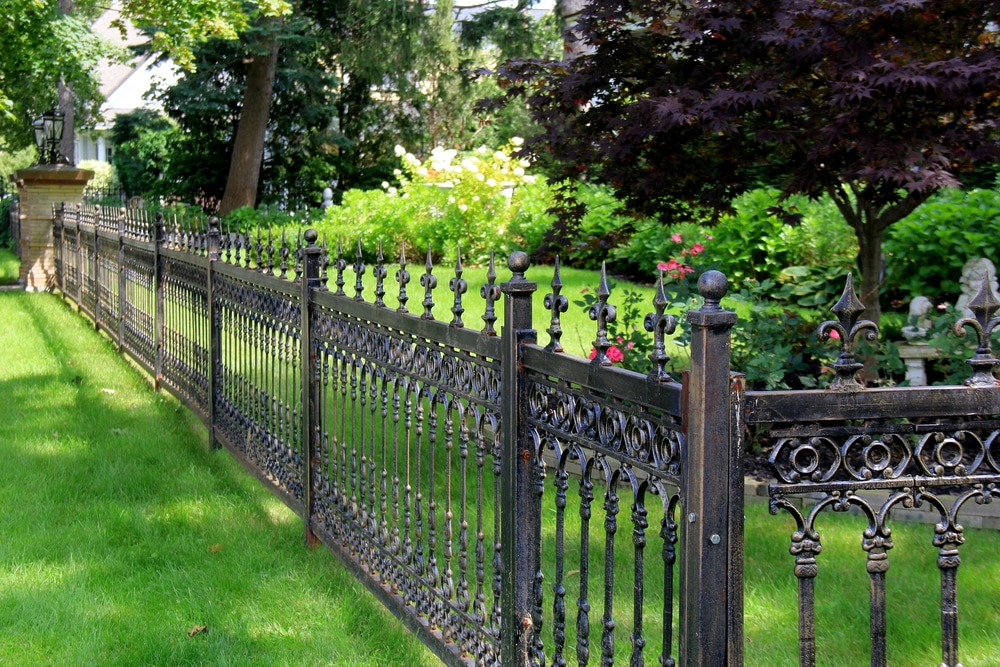 black gothic fencing in a lush green garden