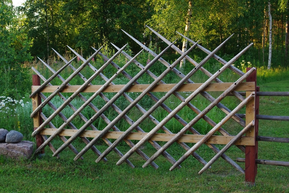 spikey wooden fence in the outdoors