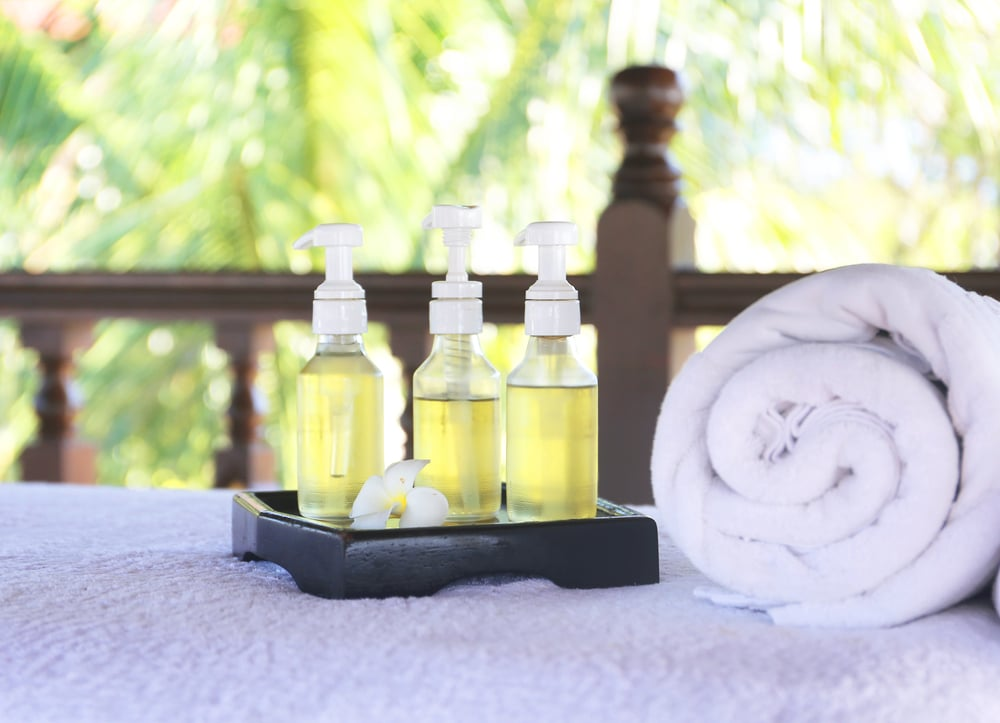 massage oils and towel in outdoor environment