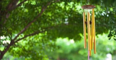 wind chimes in garden with trees in background