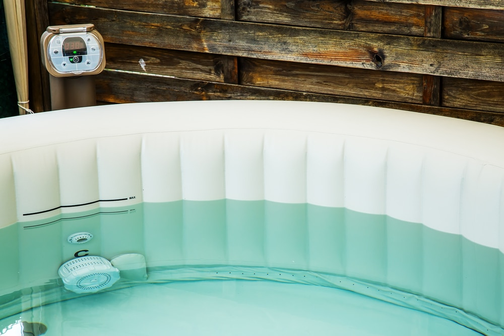 close up of an inflatable hot tub filled with water