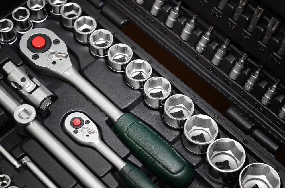 close up of wrench socket set