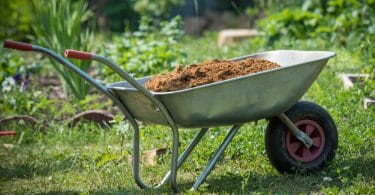 wheelbarrow filled with soil in garden
