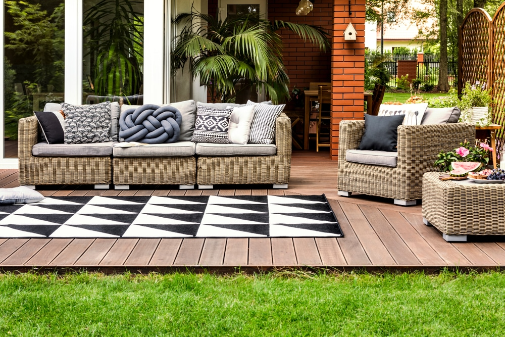 rattan furniture on garden decking