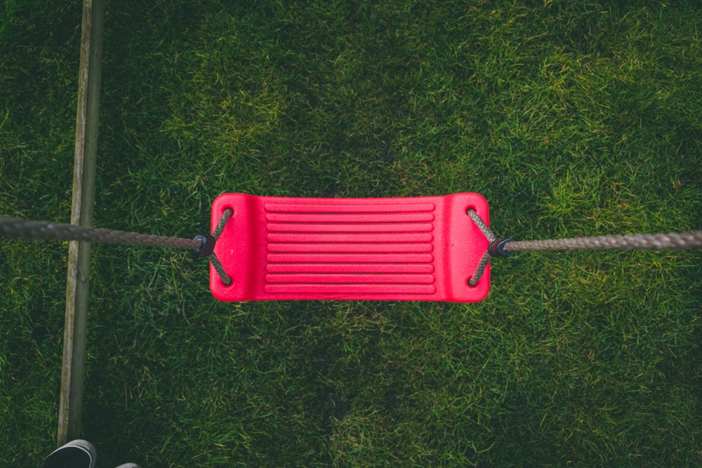 pink swing seat with grass background