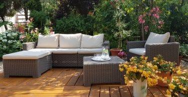 rattan sofa set on garden decking