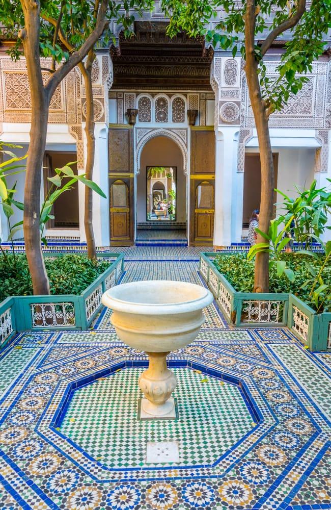 the garden of Marrakesh Bahia Palace in Morocco