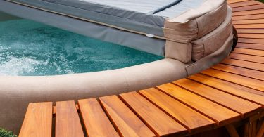 a timber hot tub surround