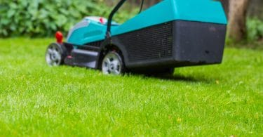 a cordless mower sat on a lawn