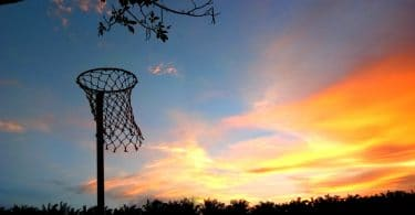 netball hoop with lovely sunset in background