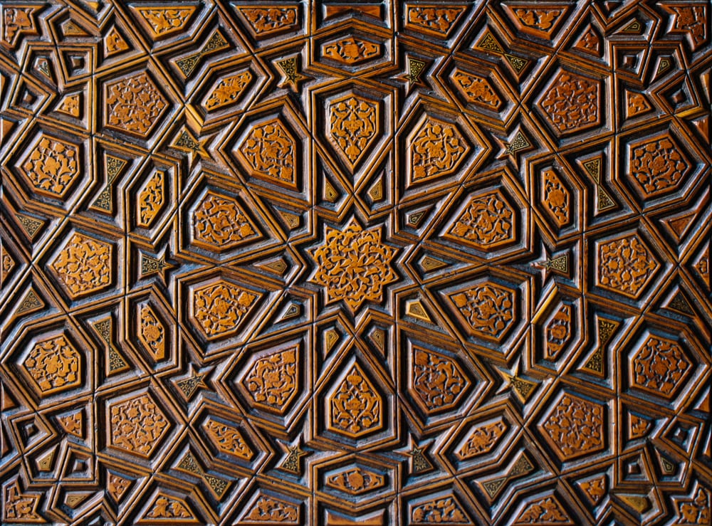 close up of Ottoman Turkish art with geometric patterns