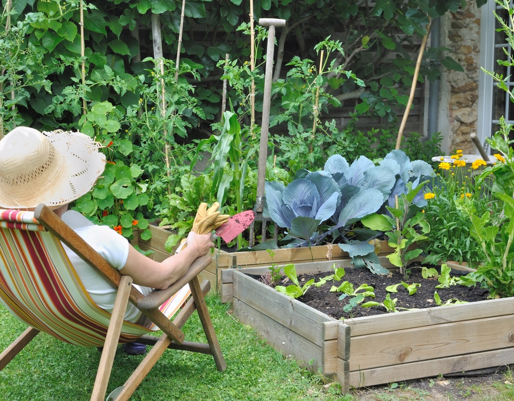 woman in lounge chair next to a vegetable patch