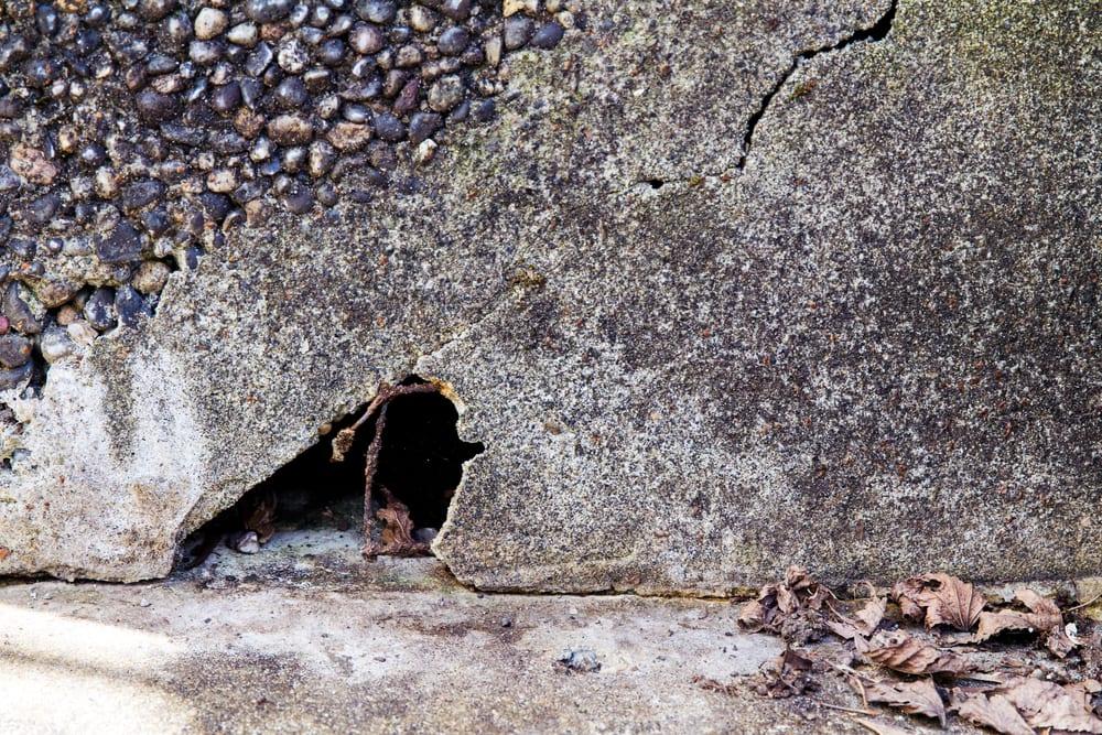a hole under a concrete step