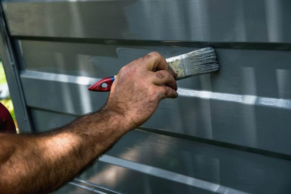 garage door being painted grey